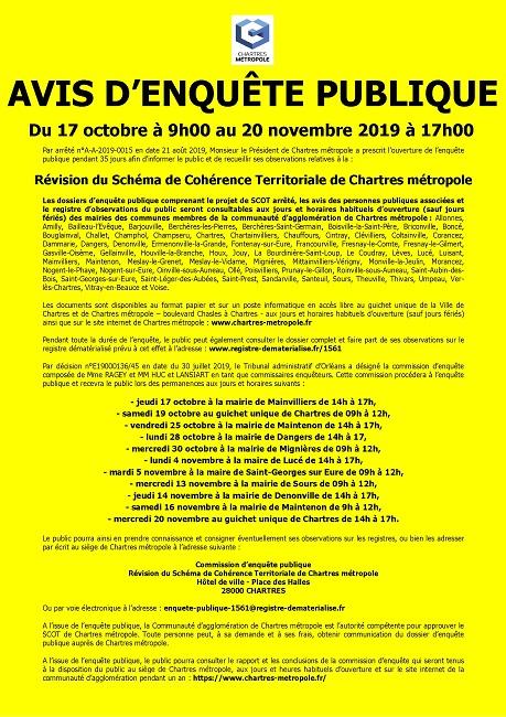 AVIS D'ENQUETE PUBLIQUE : REVISION DU SCOT DE CHARTRES METROPOLE